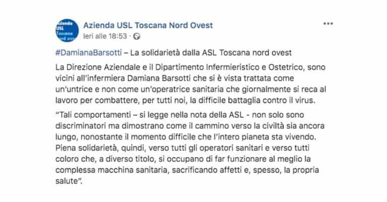Post dell'USL Toscana Nord Ovest