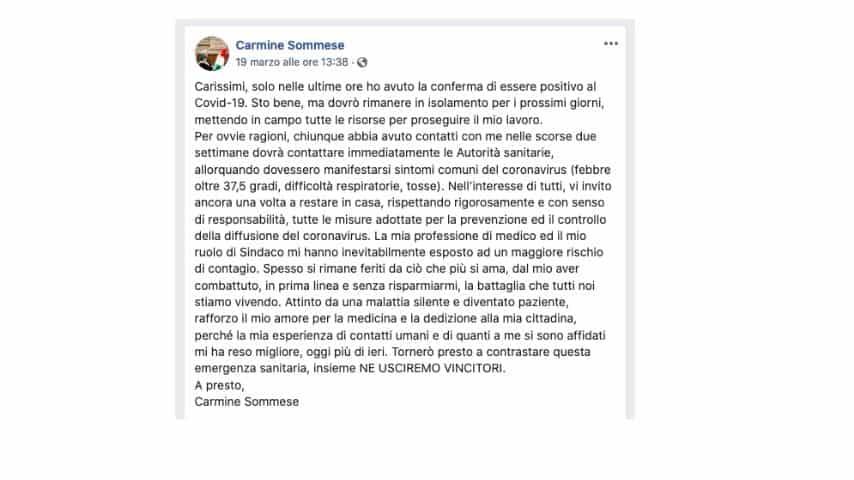 Il post in cui il sindaco di Saviano ha annunciato di aver contratto il virus