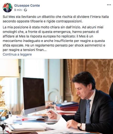 Post Facebook di Giuseppe Conte