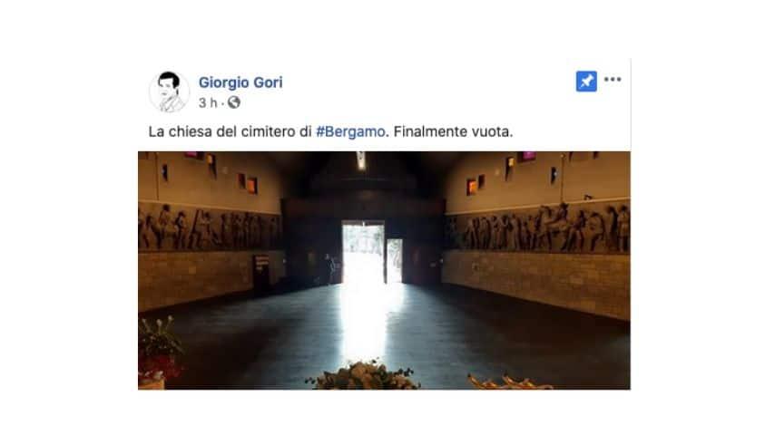 La foto della chiesa del cimitero di Bergamo pubblicata su Facebook dal sindaco Gori
