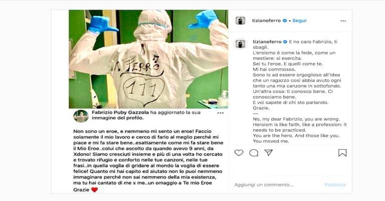 Post Instagram Tiziano Ferro