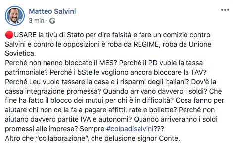 Post di Matteo Salvini su Facebook