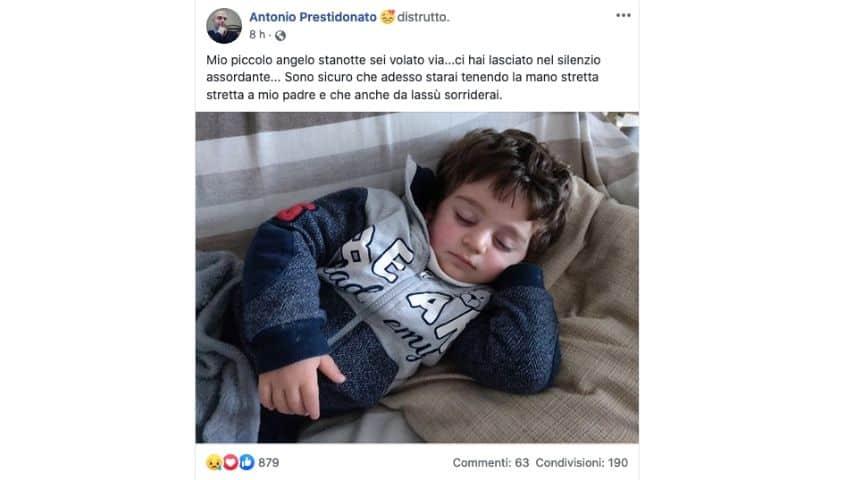 Il post pubblicato da Antonio Prestidonato su Facebook