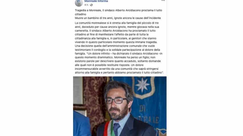 Il commento del sindaco di Monreale sulla pagina Facebook Monreale informa