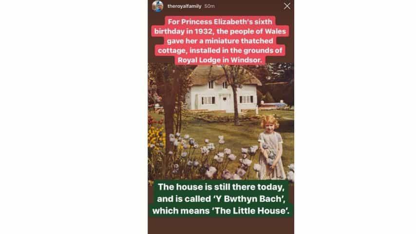 Il piccolo cottage costruito per la futura regina nei giardini di Windsor, pubblicato dal profilo instagram The Royal Family