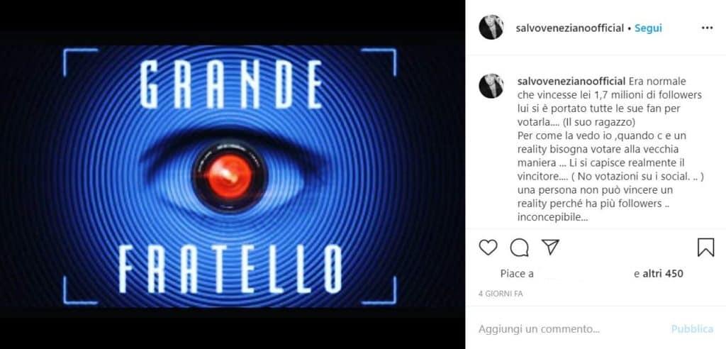 il post di Instagram scritto da Salvo Veneziano