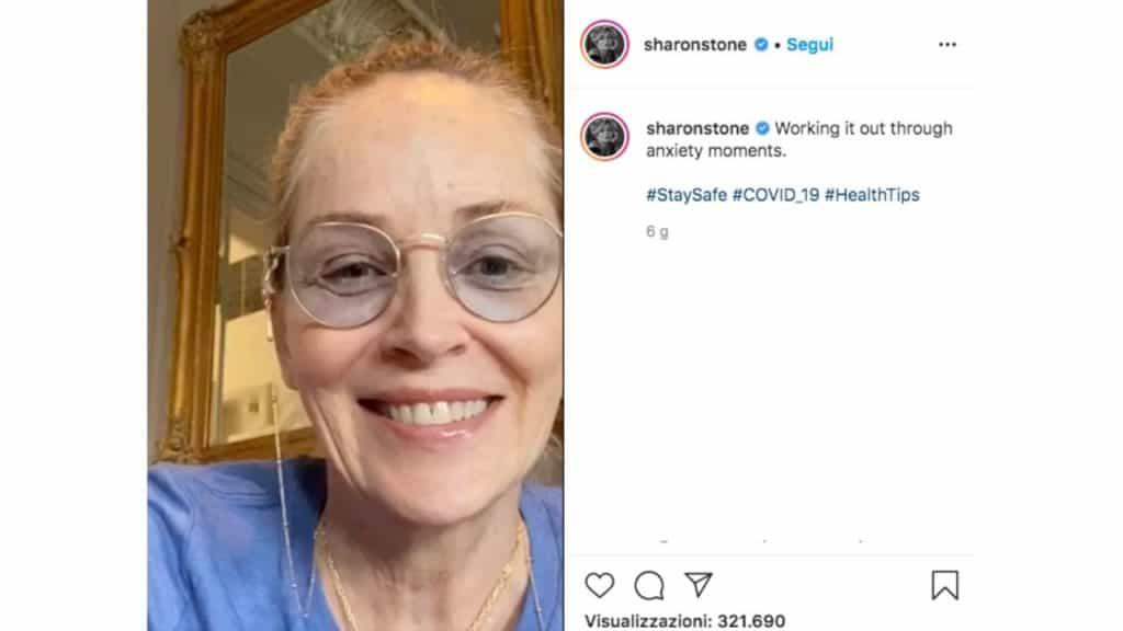 sharon stone senza trucco sui social
