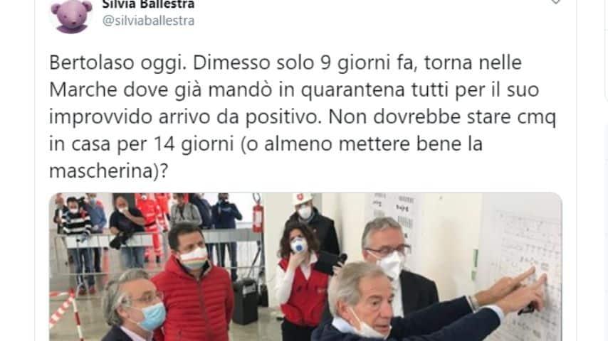 Su Twitter la polemica contro Guido Bertolaso e l'uso scorretto della mascherina durante l'emergenza Coronavirus a Civitanova Marche