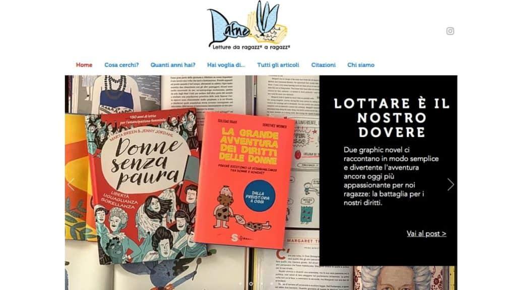 homepage del sito dafne - letture da ragazz a ragazz