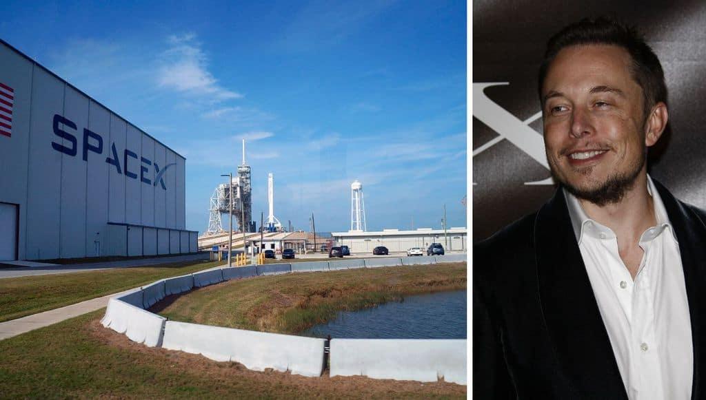 A destra la base di Space x e a sinistra Elon Musk