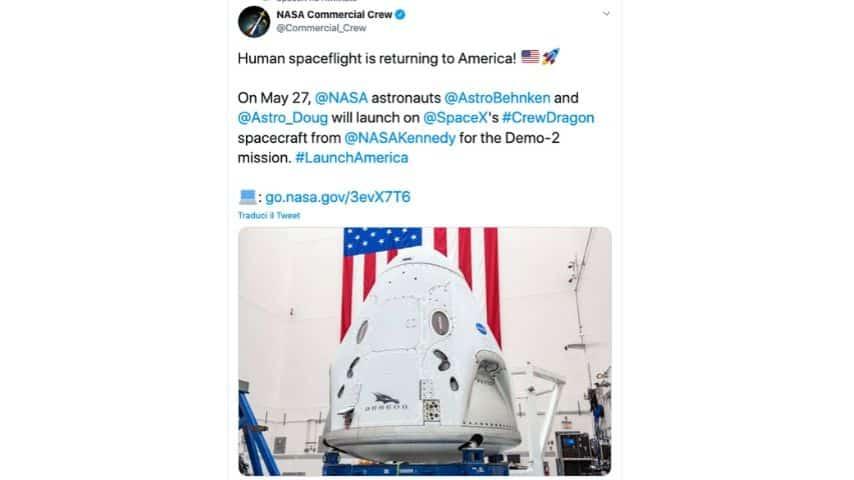 Il tweet della Nasa sul lancio del progetto Space X