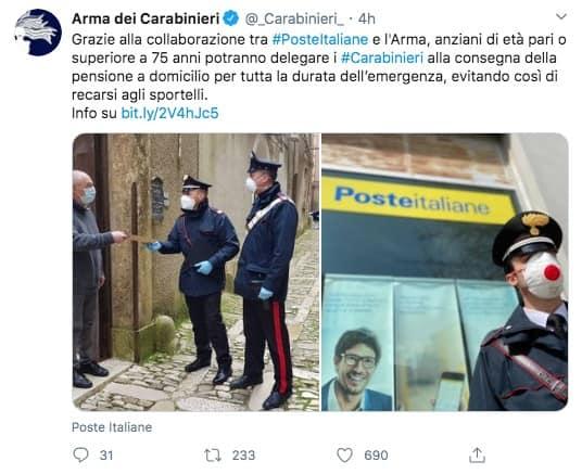 Tweet dell'Arma dei Carabinieri
