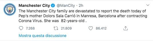 Tweet del Manchester City