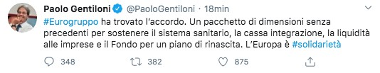 Tweet di Paolo Gentiloni