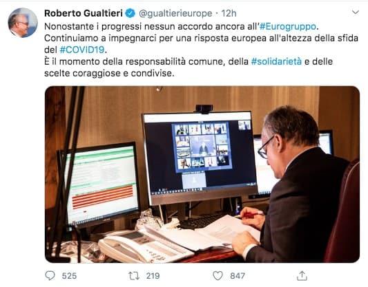 Tweet del Ministro Gualtieri