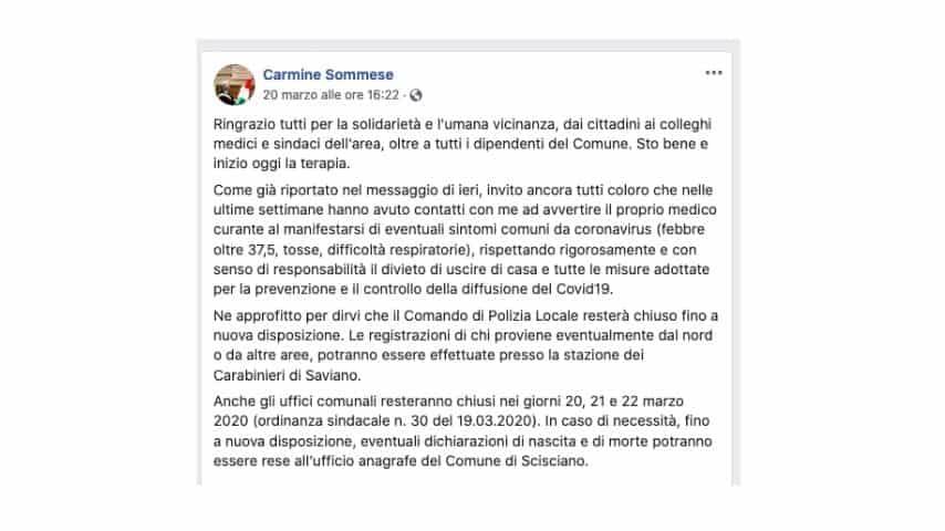 l'ultimo post pubblicato dal sindaco Carmine Sommese