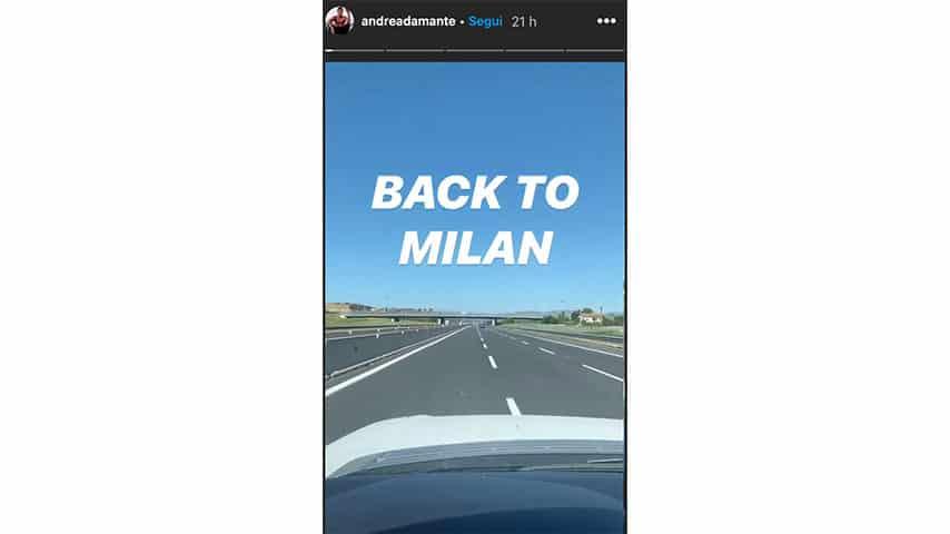 Instagram Story di Andrea Damante