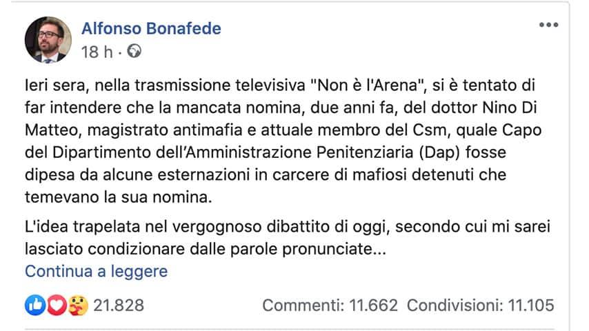 Post di Alfonso Bonafede su Facebook