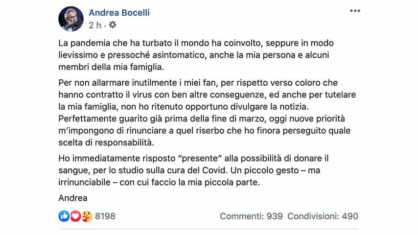 Post di Andrea Bocelli su Facebook