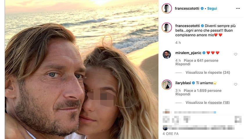 Post di Francesco Totti con la figlia su Instagram