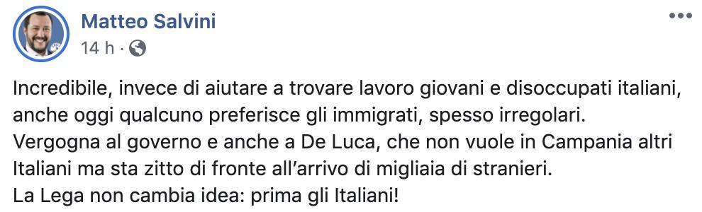Post di Matteo Salvini sui braccianti in Campania