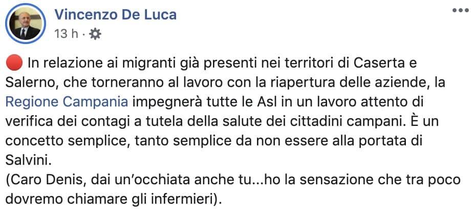 Post Facebook di Vincenzo De Luca