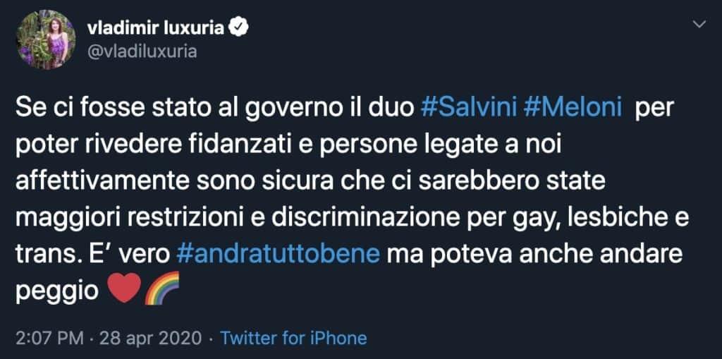 Tweet di Vladimir Luxuria su Salvini e Meloni