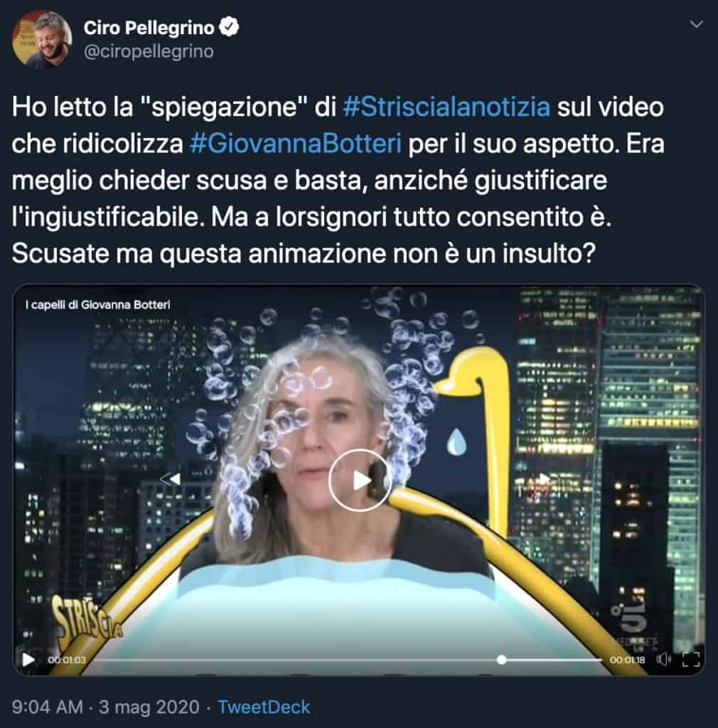 Tweet di Ciro Pellegrino su Giovanna Botteri