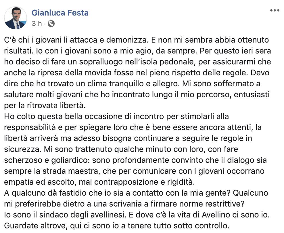 Il post del sindaco Gianluca Festa