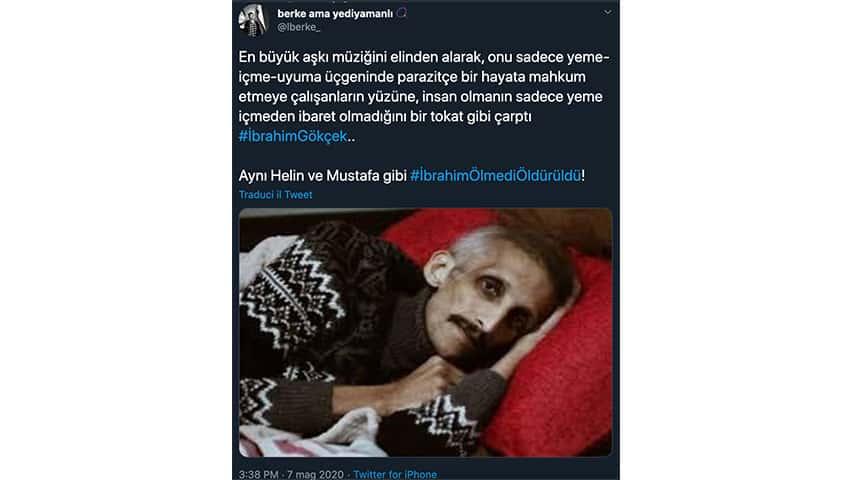 Tweet sulla morte di Ibrahim Gokcek
