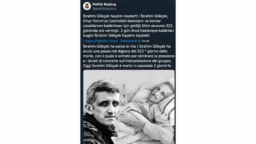 Tweet in ricordo di Ibrahim Gokcek