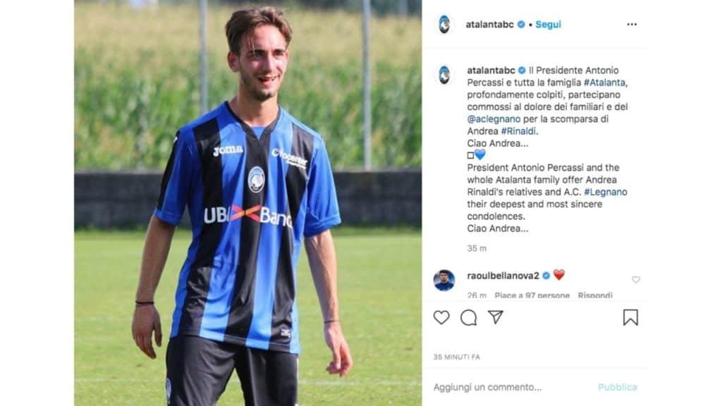 il post instagram pubblicato dall'Atalanta per comunicare la morte di Andrea Rinaldi