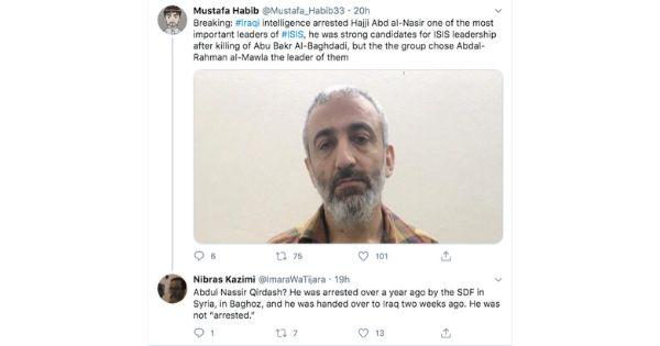 L'analista Nibras Kazimi fa notare lo scambio di persona su Twitter