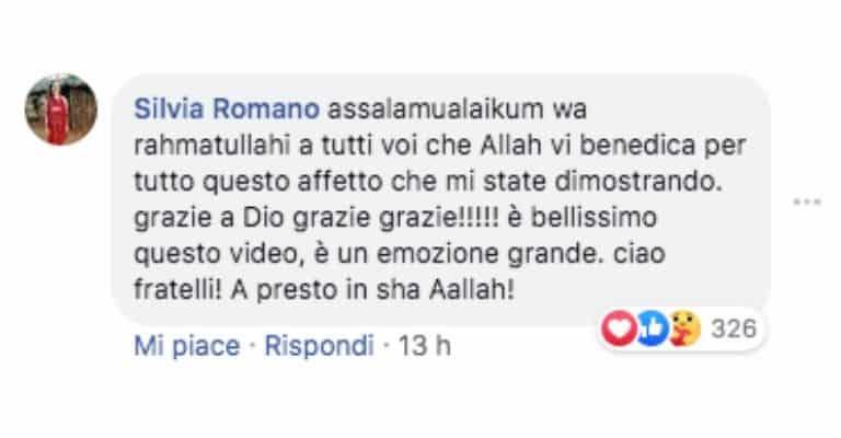 Il commento di Silvia Romano su Facebook