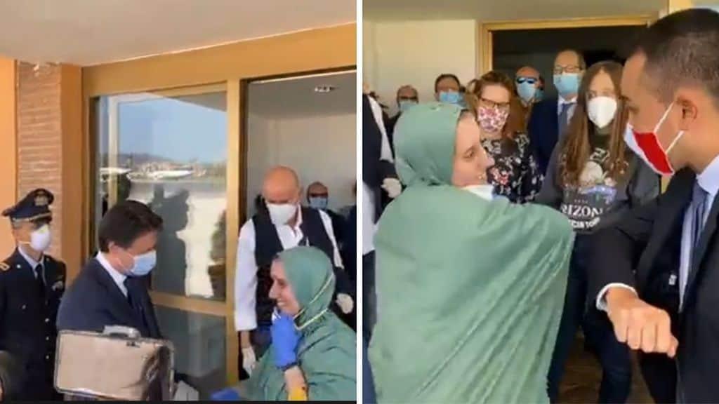 Conte e Di Maio salutano Silvia Romano all'aeroporto di Ciampino