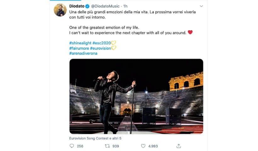 Il tweet di Diodato sulla sua esibizione all'Arena di Verona