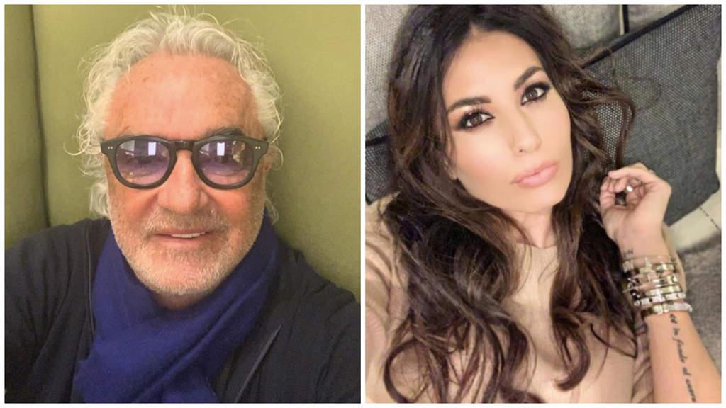 Collage di foto di Flavio Briatore con occhiali da sole e Elisabetta Gregoraci sul divano