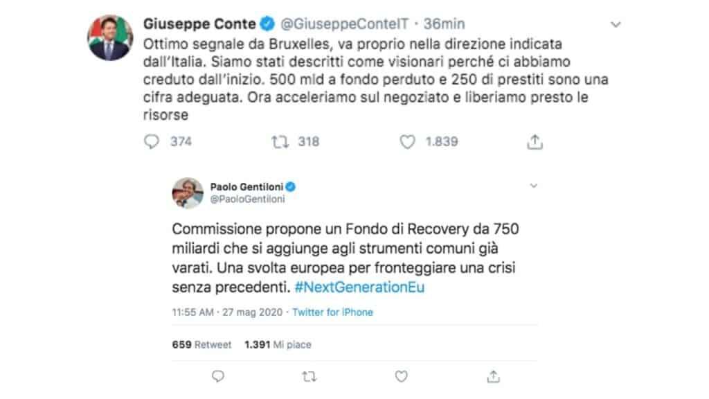 tweet di giuseppe conte e paolo gentiloni sul recovery fund
