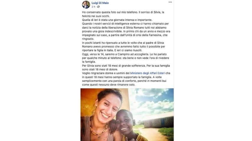 Il post di Luigi Di Maio su Facebook per Silvia Romano