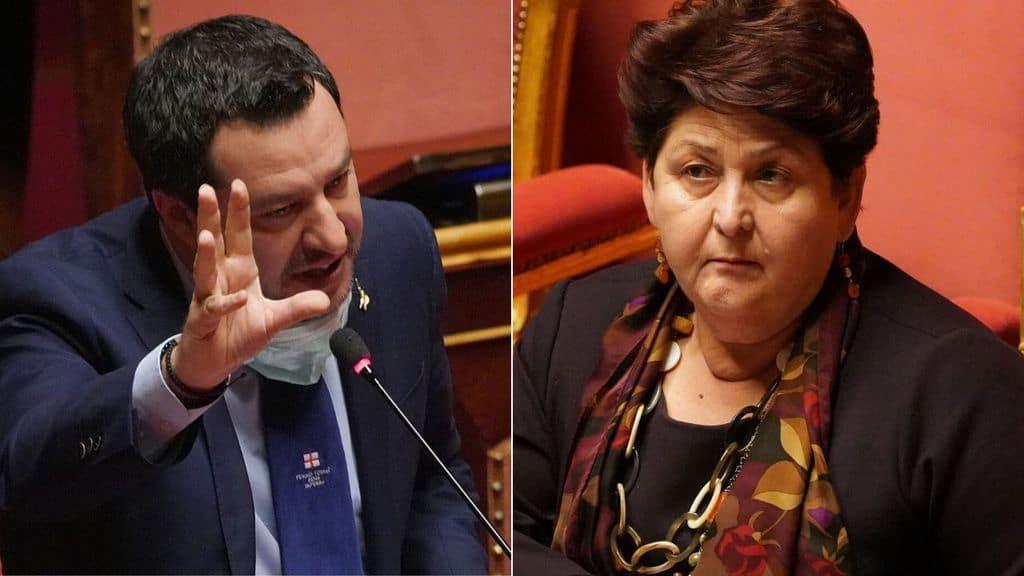 Primi piani di Matteo Salvini e Teresa Bellanova