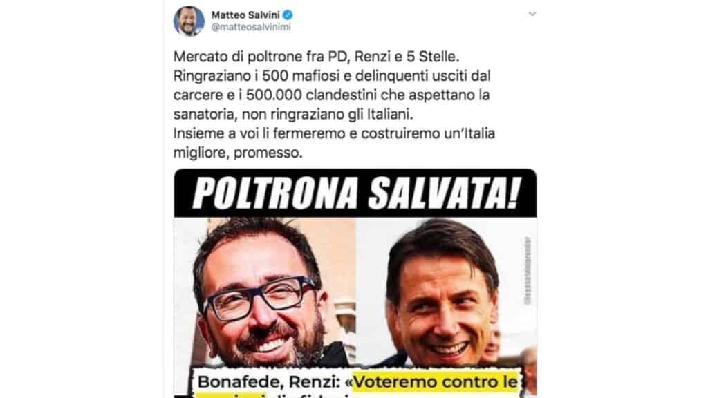 Matteo Salvini contro Bonafede su Twitter