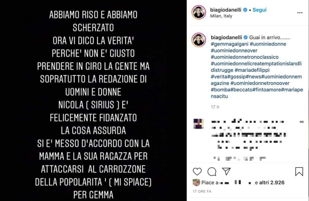 Il post su Instagram di Biagio D'Anelli