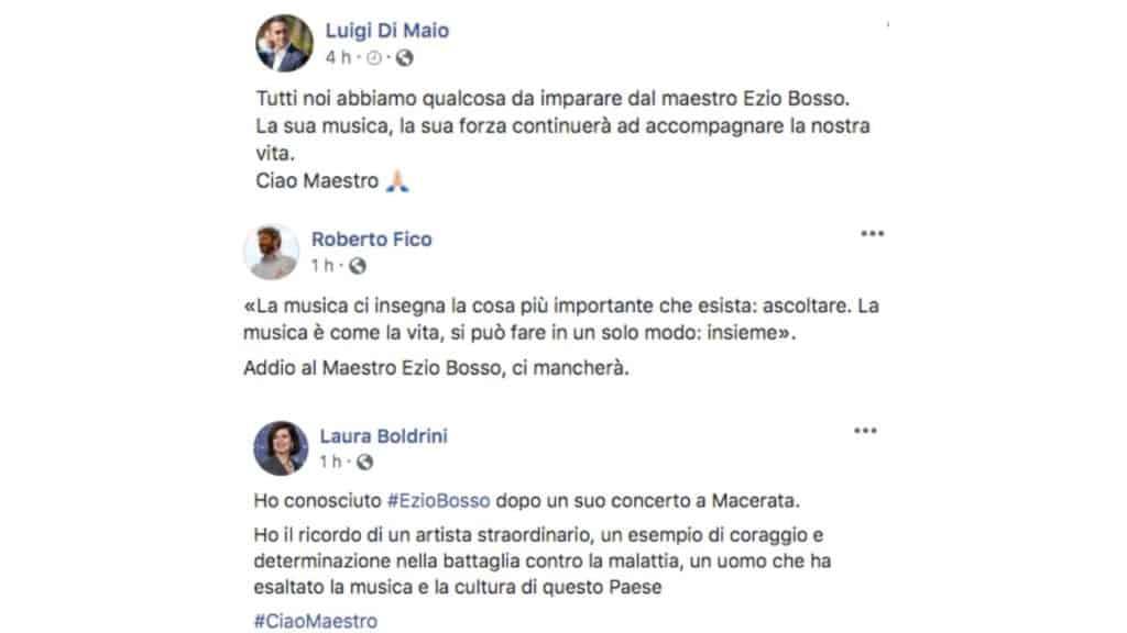 post facebook di Luigi Di Maio, Roberto Fico e Laura Boldrini in ricordo di Ezio Bosso