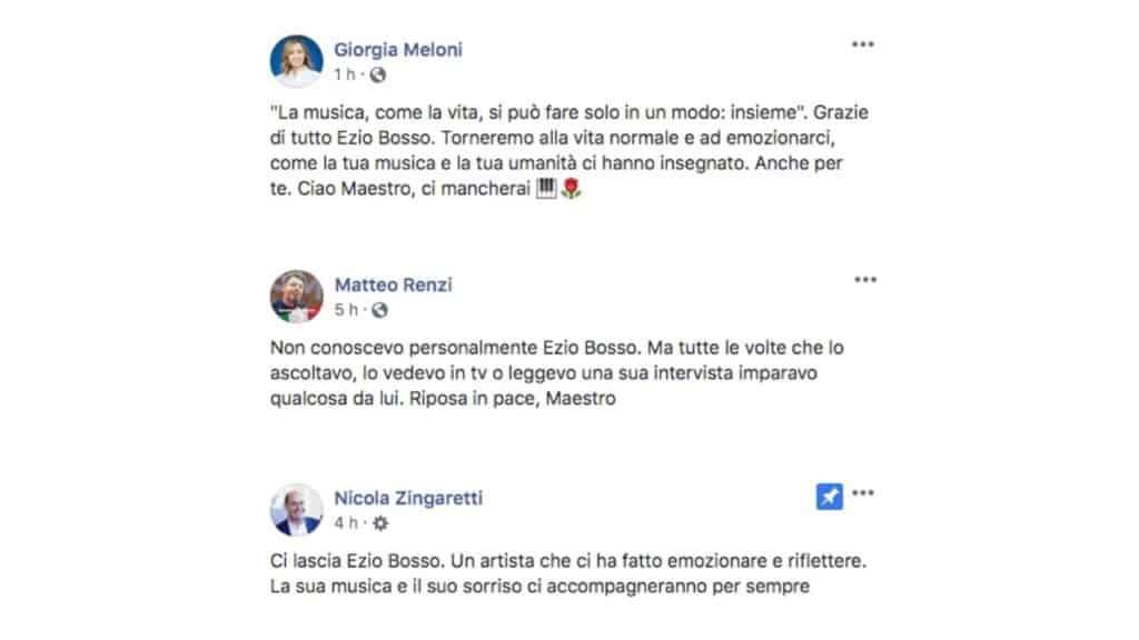 il post facebook di giorgia meloni, matteo renzi e nicola zingaretti per la scomparsa di ezio bosso