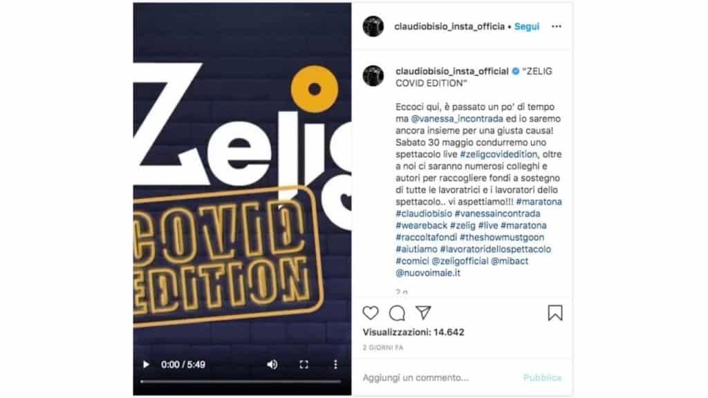 post instagra di claudio bisio su zelig covid edition
