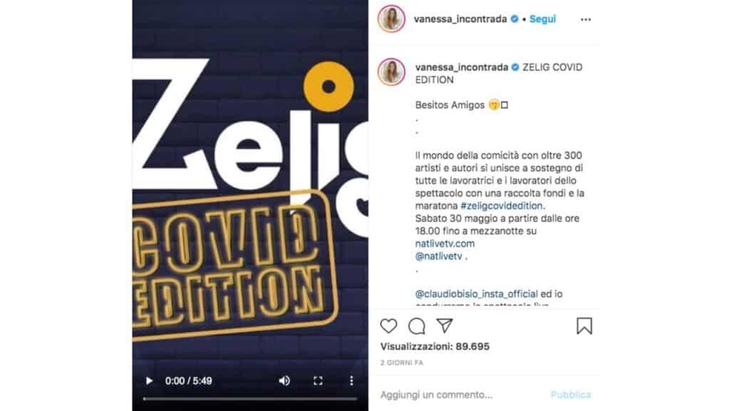 post Instagram di vanessa incontrada su Zelig Covid Edition