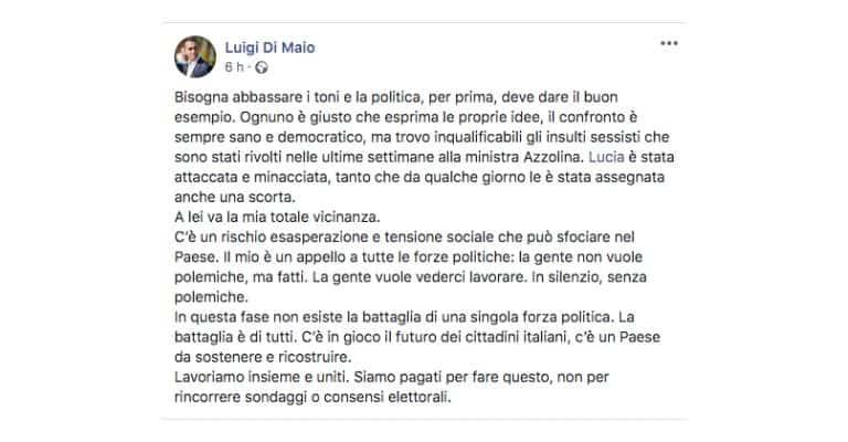 Post di Luigi di Maio sulla Ministra Azzolina