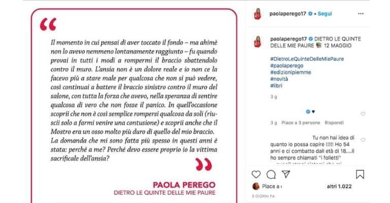 Post Instagram di Paola Perego