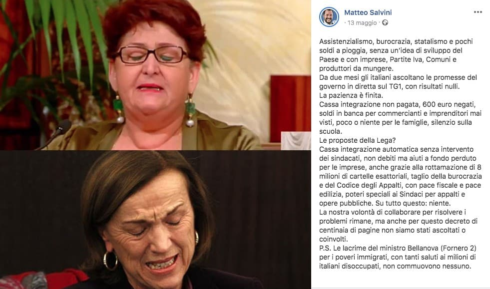 Il post di Salvini sul Ministro Teresa Bellanova