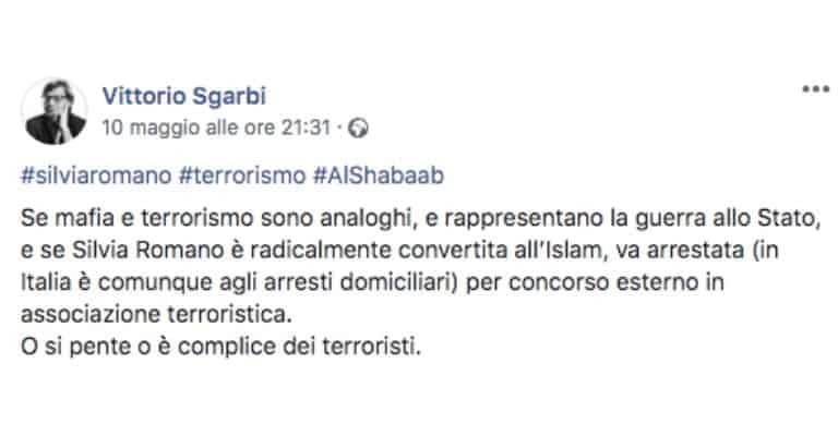 Post Facebook di Vittorio Sgarbi